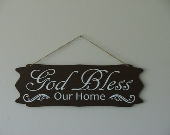 God Bless Our Home. hanging sign, Plaque, with vinyl saying quote