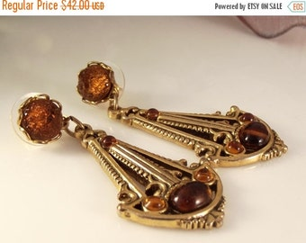 10-40% OFF SALE Amber Glass Gold filled Statement Dangle Drop Earrings