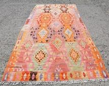 "Large Oriental Vintage Turkish Kilim Rug From Kayseri  69,5"" x 140""  -177 x 355 cm Pink Rug Soft Color Wool"