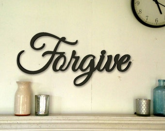 Forgive word sign,forgive plaque,large word sign,wood Plaque,Cutout word sign,shabby chic sign,aged sign,antiqued sign,religious word sign