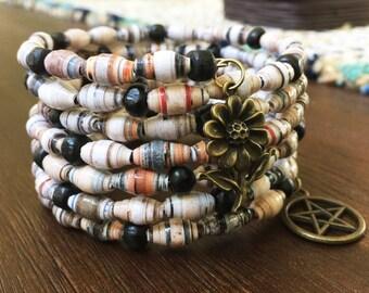 Handmade bracelet, Paper bead bracelet, OOAK jewelry, Wire wrap bracelet, Memory wire bracelet, Fashion bracelet