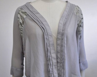 Lace Raglan Sleeve Pleated Cardigan Wrap Cover Up Dove Grey one size