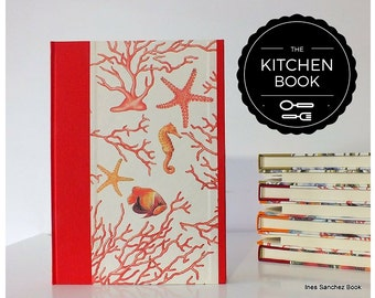 KITCHEN RECIPES BOOK - Red kitchen book 17,5 X 24,5 cm - Coral Cookbook A5 divided by arguments