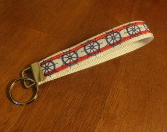Red and blue nautical fabric keyfob/keychain/wristlet