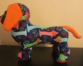 Multicolored weiner dog stuffed weiner dog/plushie
