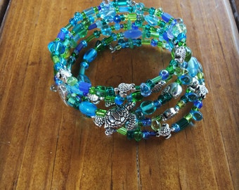 Brite and Fun Wrap Bracelet with Blue and Green Beads and Sea Turtles Hatchlings and Shells by Pisces Island