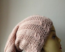 60% Off LIQUIDATION SALE Beige Hand Knitted Hat, Beige women men unisex knitted hat, slouchy beige color hat, hand knit women hat