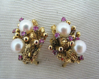 Vintage - 14k Gold - Pearl  and Ruby Clip-On Earrings