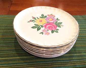 "Set of 7 Dinner Plates by W.S. George, Floral, ""Bolero"", Vintage, Shabby Chic, Scalloped Edge, Gold Trim, Canonsburg Pottery, USA Pottery"