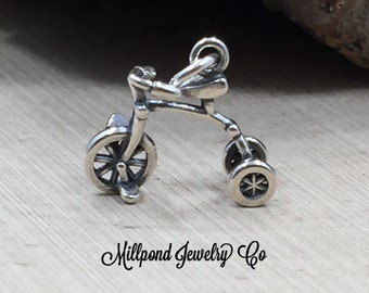 Tricycle Charm, Trike Charm, Sterling Silver Tricycle Charm, Outdoors Charm