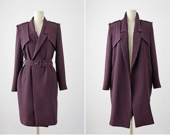 Purple Trench Coat • Womens Trench Coat • Burgundy Trenchcoat • Military Coat • Double Breasted Coat • Peacoat • Military Jacket • Belted
