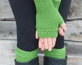 Knitted green boot cuffs and mittens, leg warmers and fingerless gloves, fingerless mittens, fingerless glove, for St. Patrick's Day