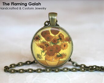 VAN GOGH SUNFLOWERS Pendant •  Yellow Sunflowers •  Famous Sunflowers • Gift Under 20 • Made in Australia •  (P1230)