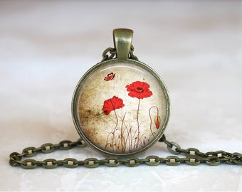 VINTAGE RED POPPY Pendant •  Remembrance Poppy •  Red Flower •  Floral Jewellery • Gift Under 20 • Made in Australia (P0269)