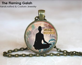 MEDITATION Pendant •  Life's About Balance •  Yoga Gift • Lotus Position • Meditation Jewellery • Gift Under 20 • Made in Australia (P0351)