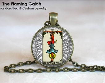 THE HANGED MAN Tarot Card Pendant. Major Arnaca Tarot. Wicca. Occult. Fortune Teller. Mystic Made in Australia (P0854) **Free Shipping**