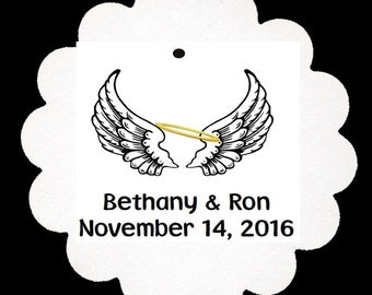 24 Personalized Angel Wings Wedding Marriage Scalloped Tags Party Favors