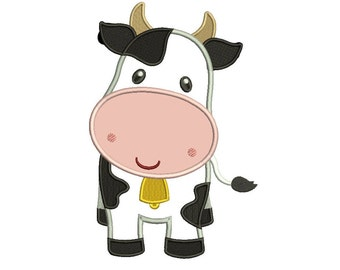 Cute Little Cow Applique Machine Embroidery Digitized Design Pattern  - Instant Download - 4x4 , 5x7, and 6x10 -hoops