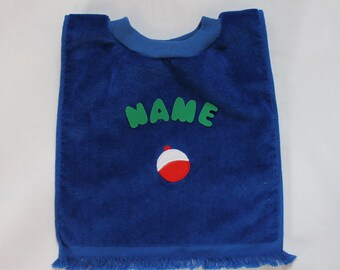Baby Bib with a fishing design, personalized, plush royal blue bib with matching neck ribbing
