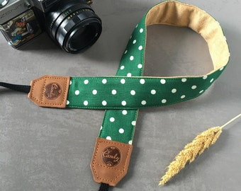 Polka DotDSLR camera strap,Green Dot  Camera Strap, leather camera Strap ,
