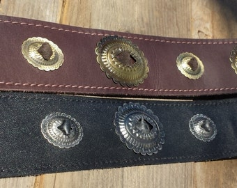 Leather Concho Guitar Strap your choice of Rich Mahogany or Black