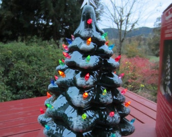 Vintage Lighted Ceramic Christmas Tree in the Box Dated 1982 Made in USA