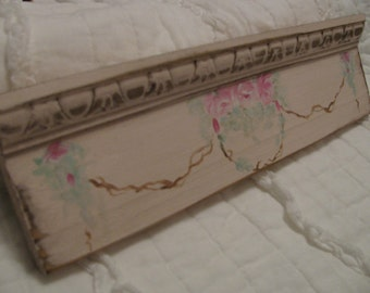 Shabby Cottage Chic Roses Swag on Blush Pink Vintage Inspired Sign Hand Painted