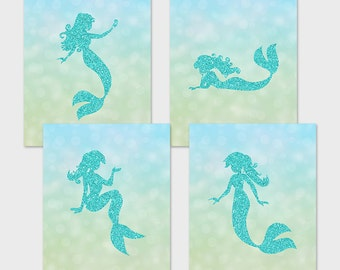 Mermaid Printable Set Teal Glitter Mermaid Wall Art Nursery Mermaid Decor  Childrenu0027s Bathroom Decor Mermaid Art