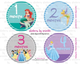 Month by Month Baby Stickers - Disney Princess Theme