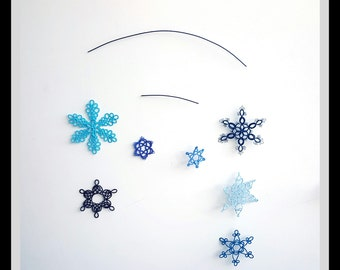 Snowflake mobile, tatted, blue colors, tatting