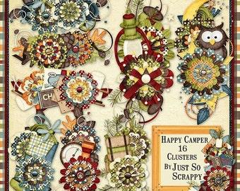 On Sale 50% Off Clusters - Happy Camper Digital Scrapbook Kit Clusters - Digital Scrapbooking