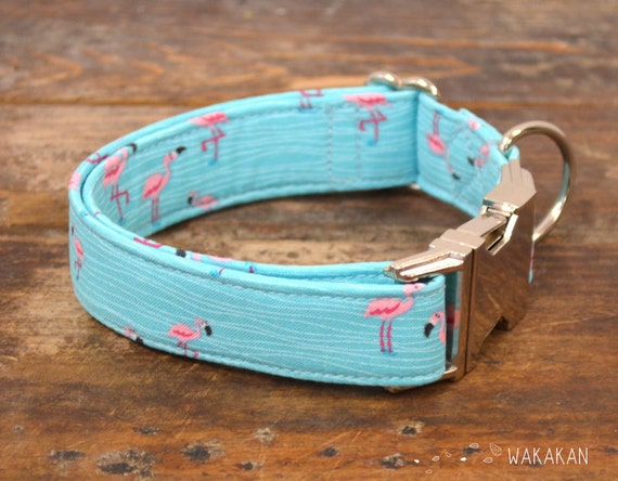 Florida dog collar. Adjustable and handmade with 100% cotton fabric. Flamingo pattern, summer style Wakakan