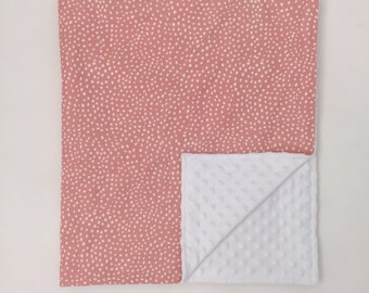 Minky Blanket  - Coral Ripple Dots - Coral Sprigs and Bloom Coordinate