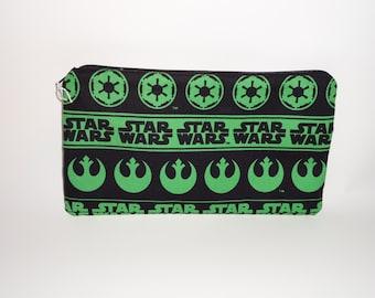 Green Star Wars Fabric Pencil Pouch Clutch Purse