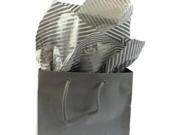Silver Diagonal Tissue Paper & Silver Gift Bag
