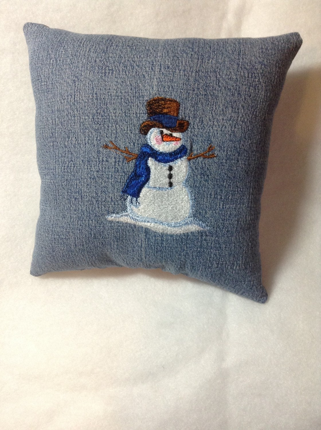 Blue Scarf Snowman Pillow