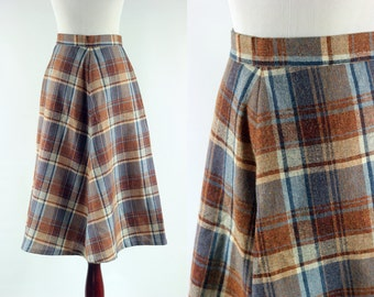 1970's Brown & Blue Plaid Wool A-line Skirt