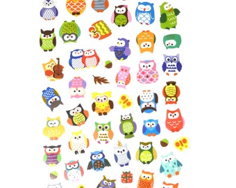 Supercute owl stickers, cute owls in many different variaties and colors