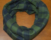 Green plaid infinity scarf for kids, flannel plaid infinity scarf, infinity loop, kids scarf, spring, fall, winter toddler scarf, baby scarf