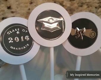 Graduation cupcake toppers, graduation cakepop sticks, black and silver graduation picks