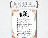 Retirement Poem, Retirement Print, 8x10 Digital Art Print, Retirement Acronym, Retirement Acrostic, Retirement Gift