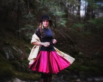 Long Flirt Silk Skirt with Pleats in Maroon
