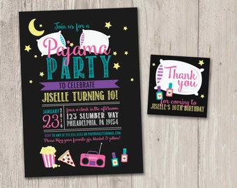 Pajama Party Invitation | Slumber Party Invitation | Sleepover Party Invitation with FREE matching Thank You card | Printable