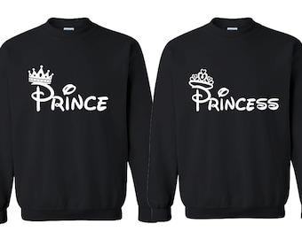Prince Princess FASHION Couple CREWNECK Sweatshirt Best Couple Sweaters (BLACKsBLACK)