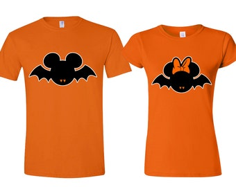 Halloween Disney Bat Couple Tshirts Bat Mickey Minnie My Boo Couple ORANGE Tshirts ORANGE