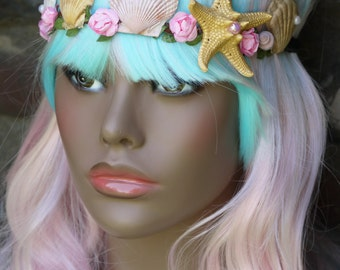 Mermaid headband,mermaid tiara,seashell headband,ocean theme hair accessories, mermaid photo prop,starfish headband, mermaid birthday decor