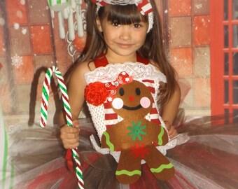 Gingerbread girl Christmas tutu dress,Christmas tutu dress,Gingerbread man pageant dress OOC wear, Candy land tutu dress