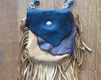 Rustic Deerskin Belt Loop Hip Bag, Multi Colored-Brown and Black Bag with Fringe
