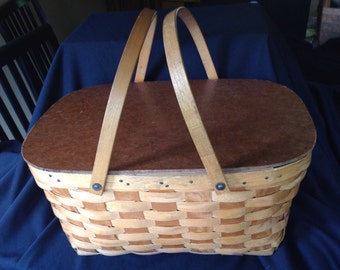 Wooden Picnic Basket with Handles
