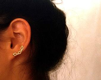 Rhombus earring , Gold ear cuff ,  Geometric jewelry, Ear Climber , Modern Jewelry , Delicate ear cuff , Gold ear pin earrings . NICKEL FREE